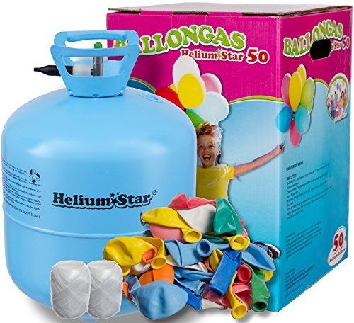 51ftswY+zBL - Helium Ballongas + 50 bunte Latexballons (Ø 25cm) + Polyband HeliumStar® Einwegflasche XXL mit 0,420 m³ Liter Heliumgas