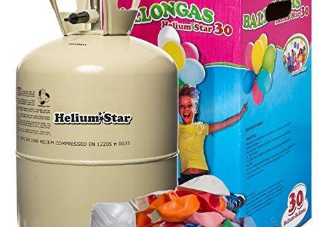 HeliumStar® Helium Einwegflasche mit Ballongas inkl 30 bunte Latexballons O 477x330 - HeliumStar® Helium Einwegflasche mit Ballongas inkl. 30 bunte Latexballons (Ø 25cm) + weißes Polyband! 250 Liter Helium für Luftballons in Heliumflasche - Ballongas reicht für alle 30 Ballons